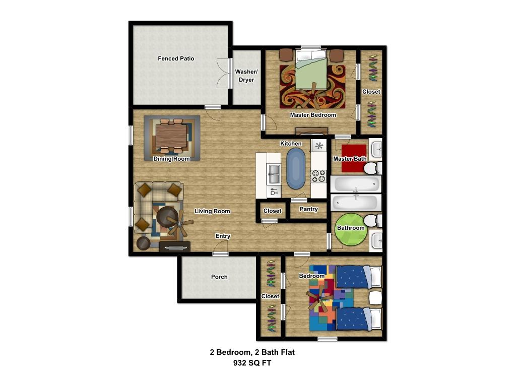 932 sq. ft. 60 floor plan