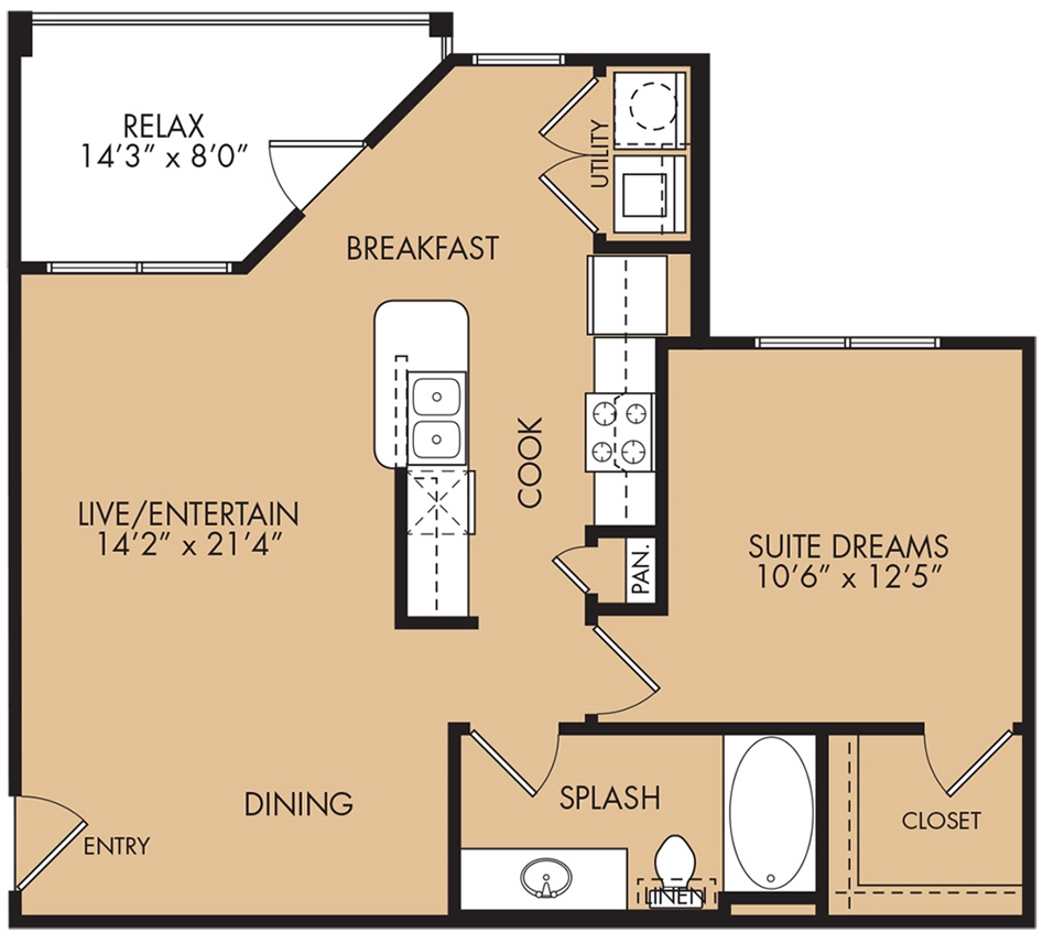 756 sq. ft. Wren floor plan