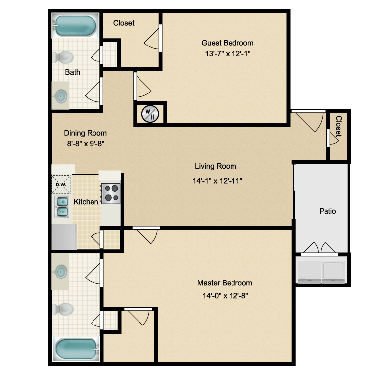 1,101 sq. ft. H floor plan