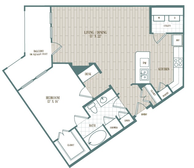 896 sq. ft. Sombra floor plan