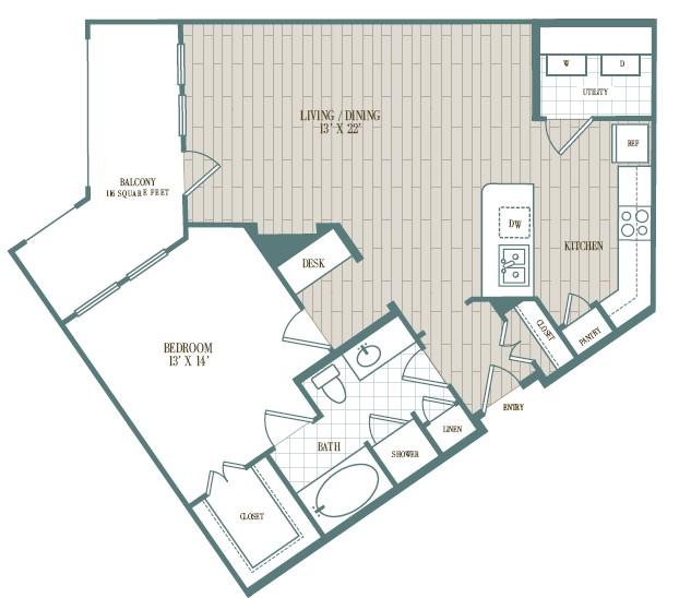 896 sq. ft. Sombra floor plan