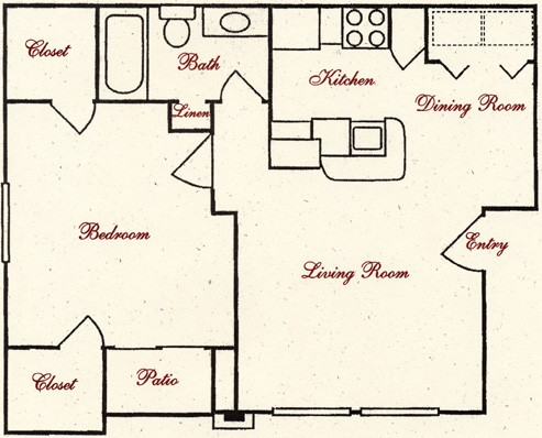 622 sq. ft. AA floor plan