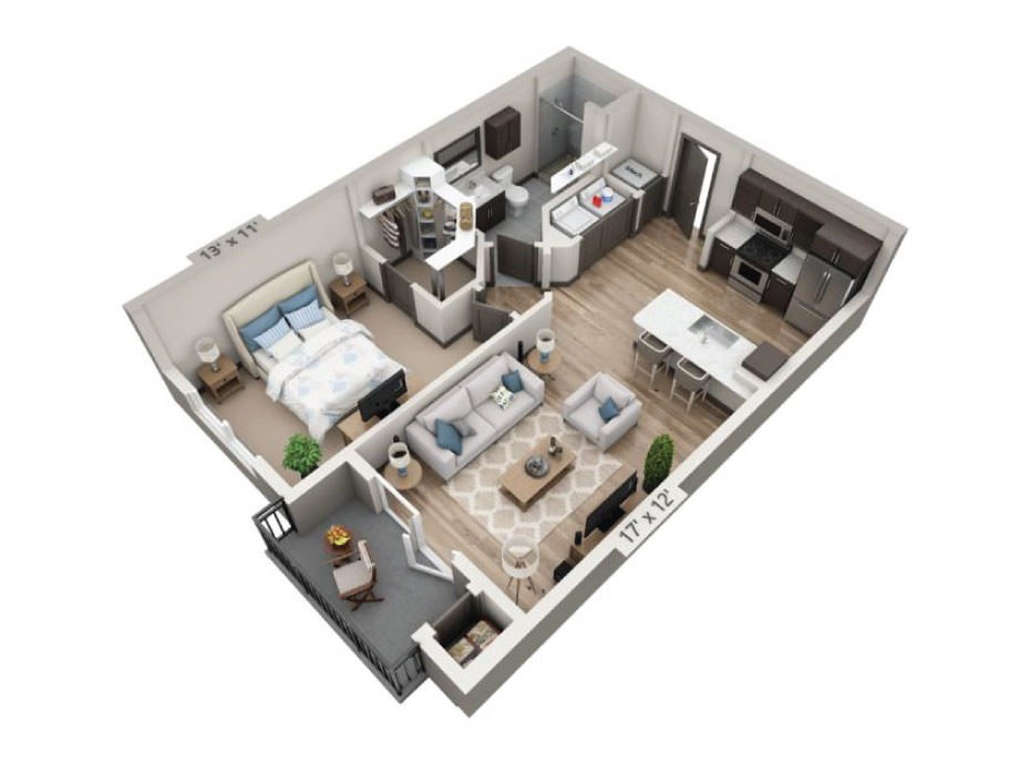 725 sq. ft. Guadalupe floor plan