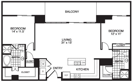 1,446 sq. ft. B6A/TOWER floor plan