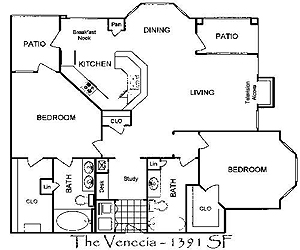 1,285 sq. ft. Venecia floor plan