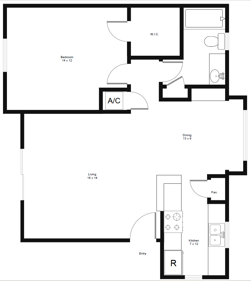 731 sq. ft. A3 floor plan