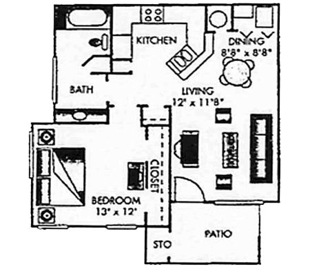 698 sq. ft. B-PH I floor plan