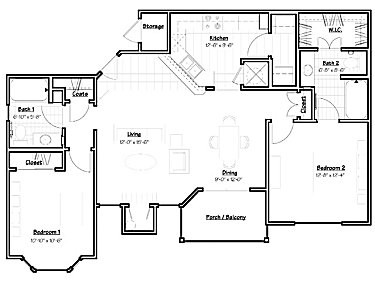 1,076 sq. ft. PONDEROSA floor plan