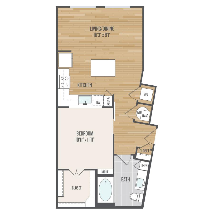 733 sq. ft. E3 floor plan