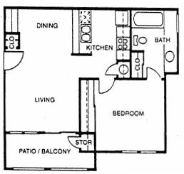 583 sq. ft. B floor plan