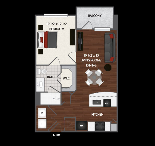 597 sq. ft. to 687 sq. ft. Ava floor plan