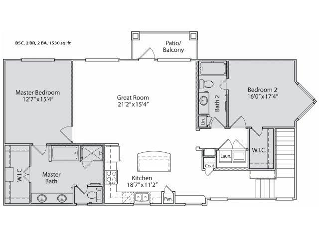 1,470 sq. ft. B5 floor plan
