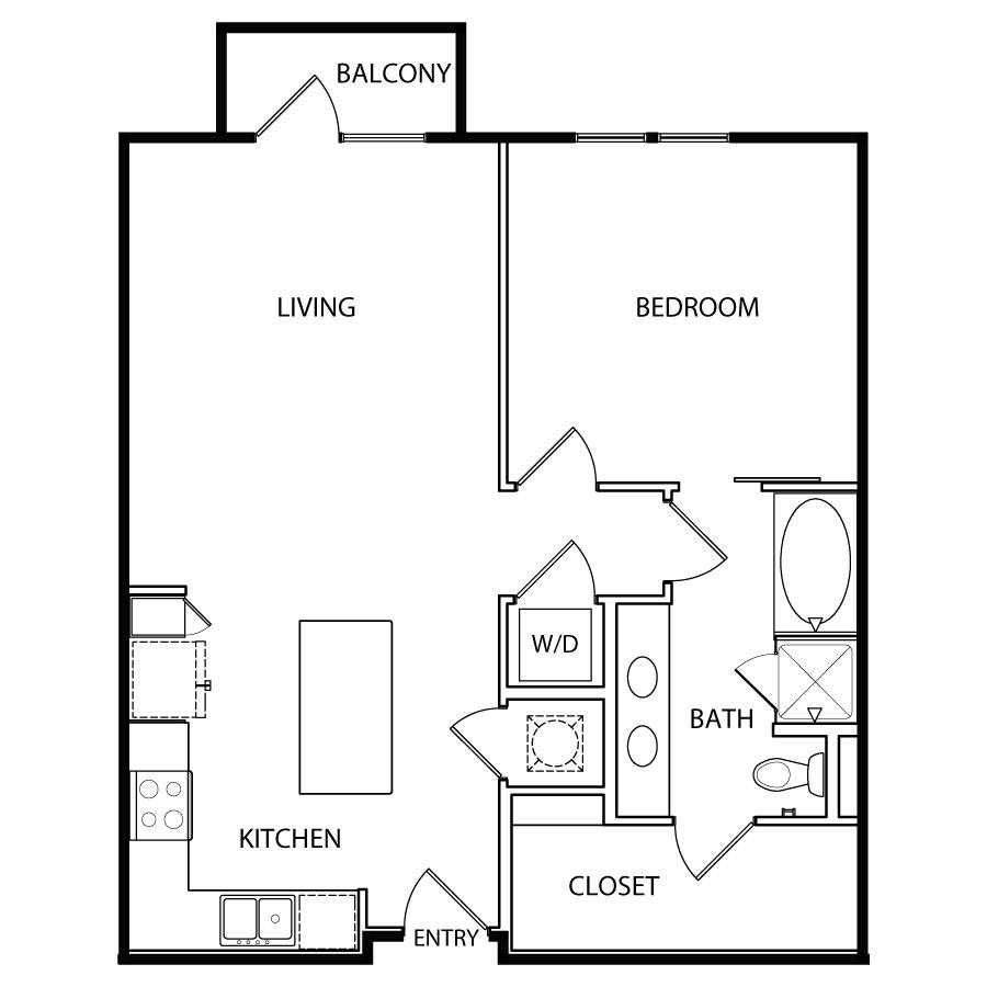 812 sq. ft. A7 floor plan