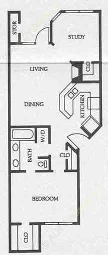 800 sq. ft. A5 50% floor plan