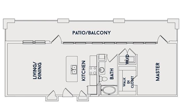 874 sq. ft. A5 floor plan