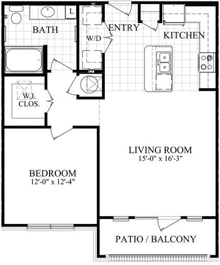 797 sq. ft. B1.1/B1.2 floor plan