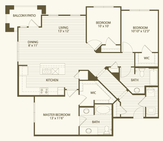 1,412 sq. ft. C1 floor plan