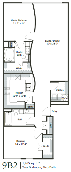1,254 sq. ft. 9B2 floor plan