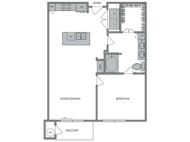 752 sq. ft. A2 floor plan