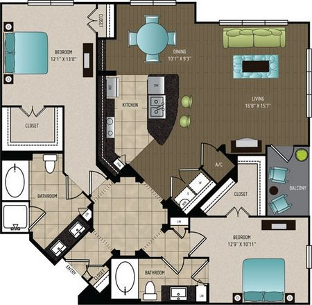 1,415 sq. ft. B4B floor plan