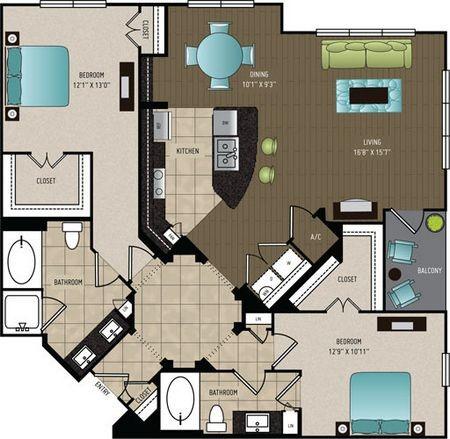 1,395 sq. ft. B4 floor plan