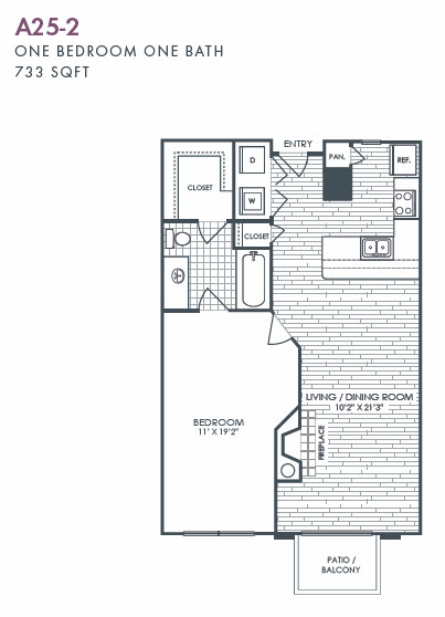 733 sq. ft. A25-2 floor plan