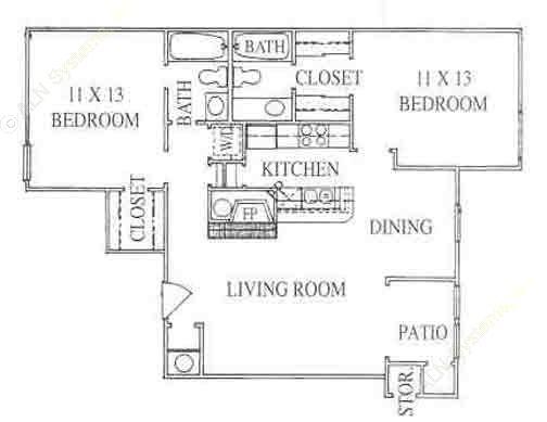 950 sq. ft. 2C floor plan