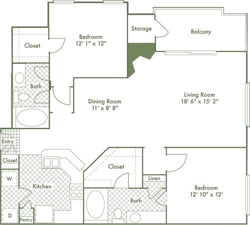 1,206 sq. ft. B3 floor plan