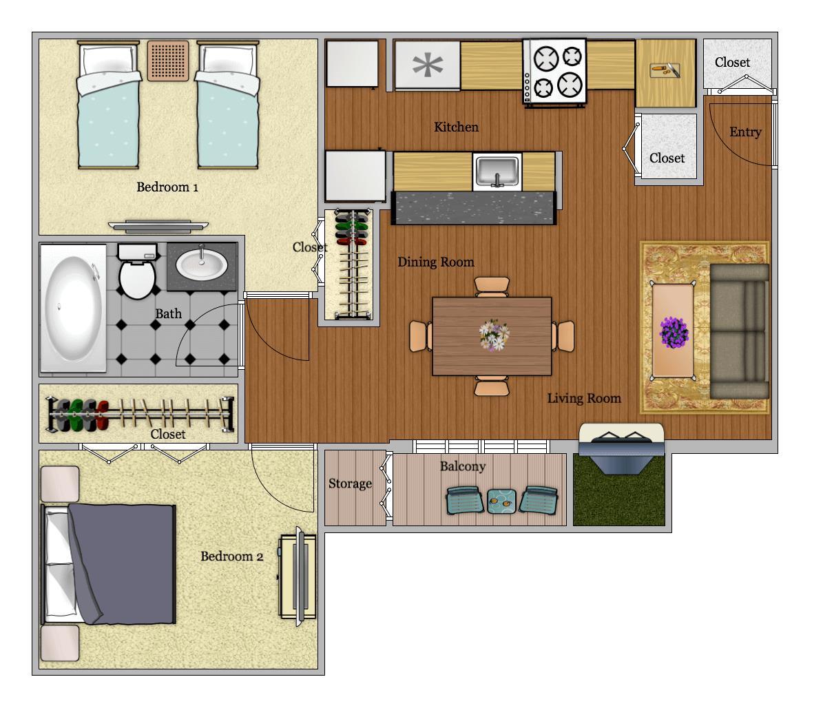 665 sq. ft. B2 floor plan