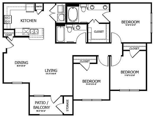 1,271 sq. ft. C1 floor plan