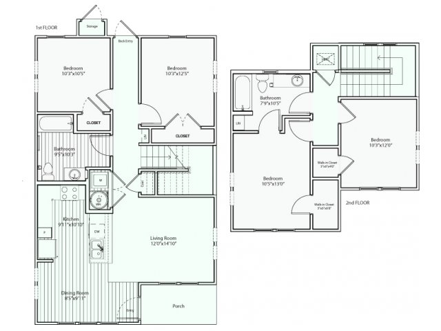 1,427 sq. ft. D1 30% floor plan
