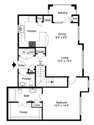 986 sq. ft. A4 floor plan