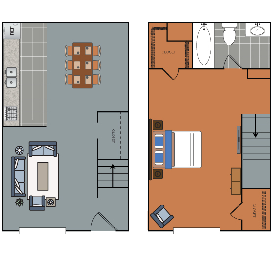 626 sq. ft. A2 floor plan