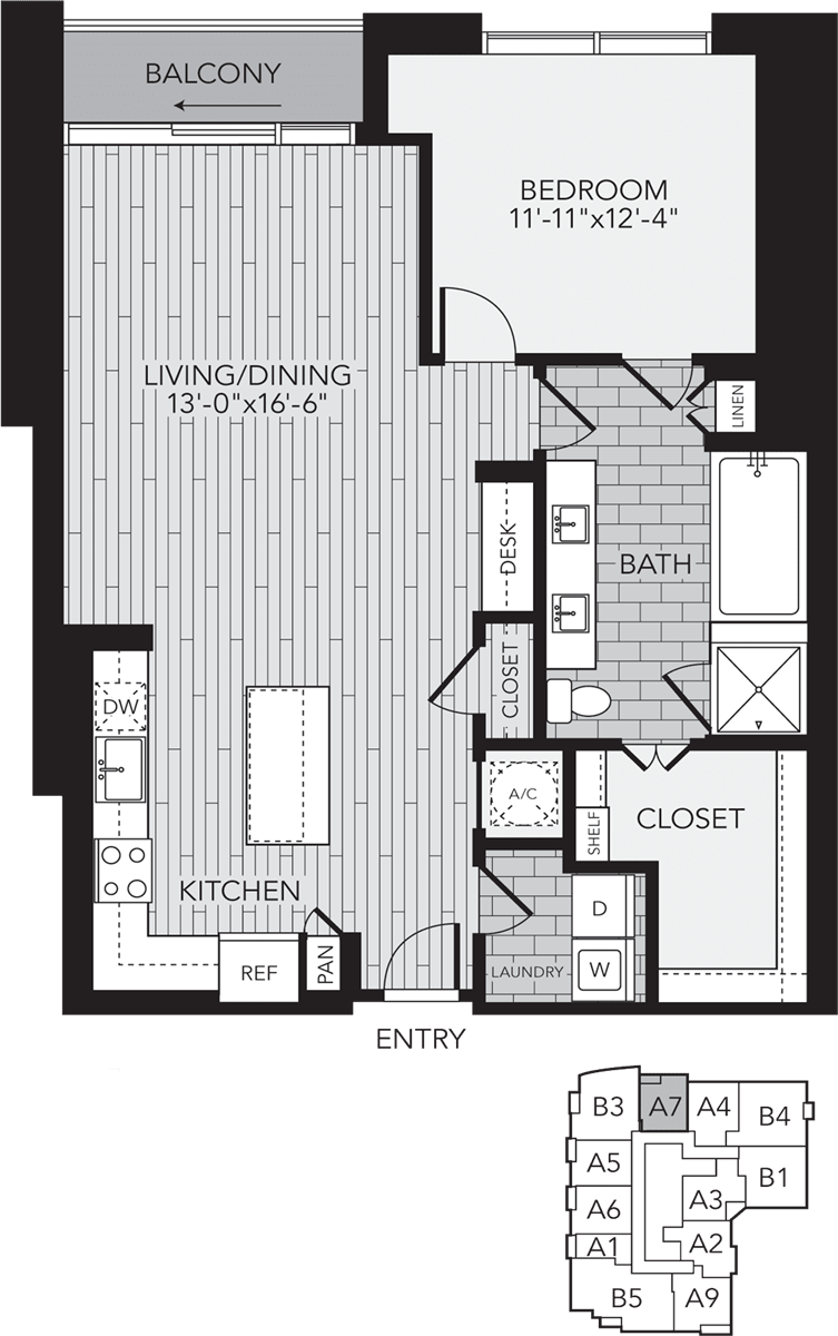 1,079 sq. ft. A7 floor plan