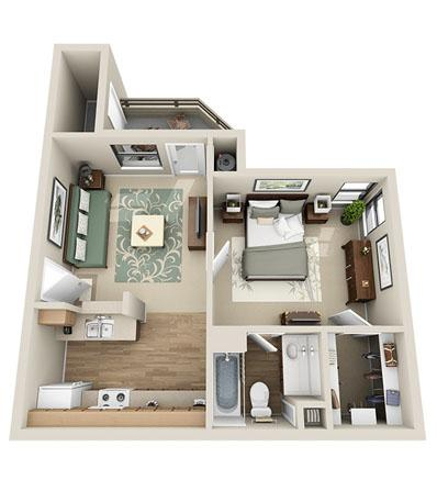 574 sq. ft. Birch floor plan