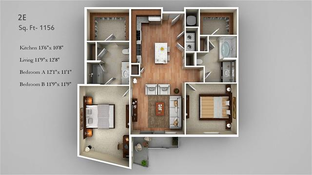 1,156 sq. ft. 2E floor plan