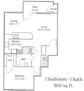800 sq. ft. 60% floor plan