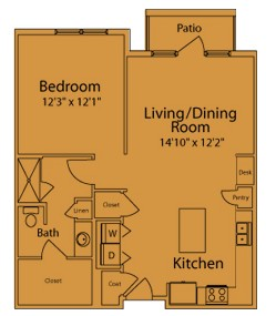 864 sq. ft. CC floor plan