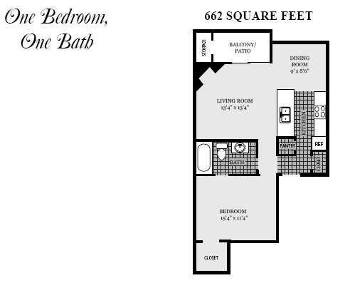 662 sq. ft. A1 floor plan