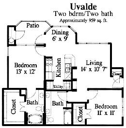 959 sq. ft. Uvalde floor plan