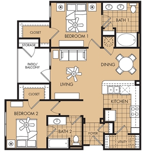 1,034 sq. ft. Hibiscus floor plan