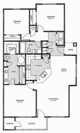 1,370 sq. ft. C2 floor plan