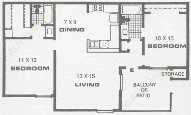 939 sq. ft. E floor plan