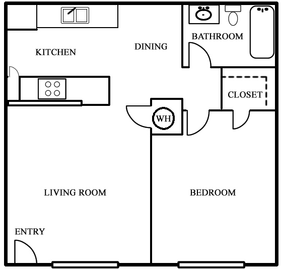602 sq. ft. to 799 sq. ft. 50% floor plan