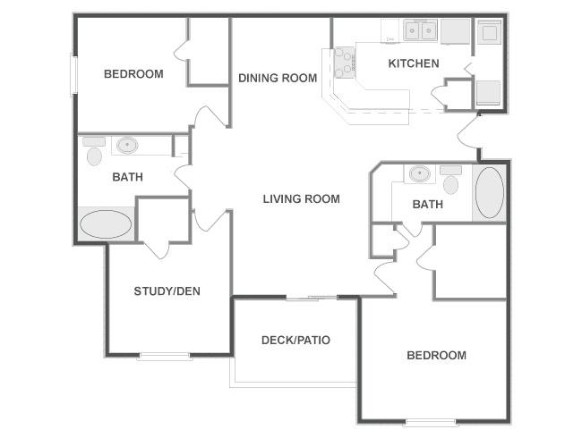 1,295 sq. ft. ASPEN floor plan