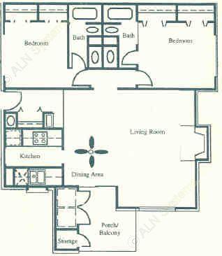 1,100 sq. ft. Lancashire floor plan