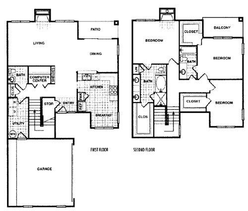 2,000 sq. ft. Redwood G floor plan