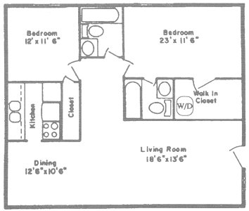 1,111 sq. ft. J floor plan