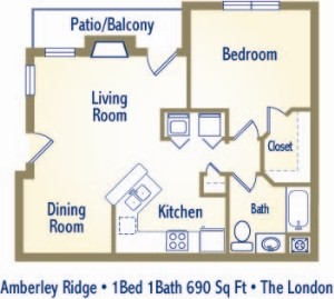 690 sq. ft. LONDON floor plan