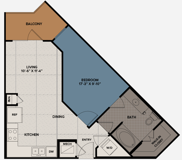639 sq. ft. A11 floor plan